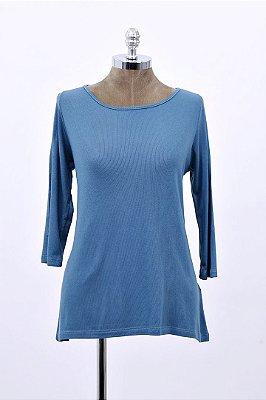 Blusa Canelada Ampla Basica Azul