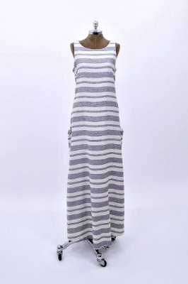 Vestido Longo Linho Listrado