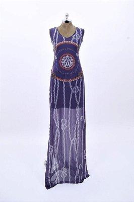 Vestido Tule Longo Marinho Corda Aplicação Pedraria