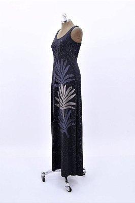 Vestido Regata Longo Malha Flame Folhagem