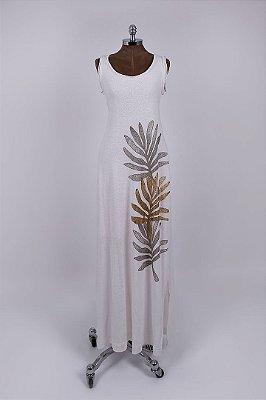 Vestido Regata Longo Podrinha Folhagem Off White