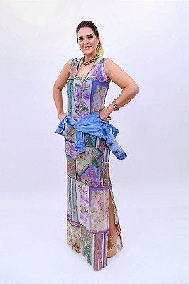 Vestido Tule Longo Lenços Basico