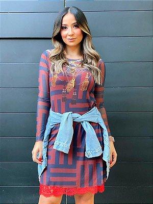 Vestido Curto Tule Geométrico Básico