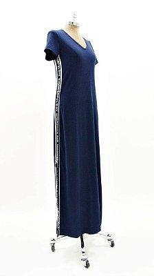 Vestido Longo Canelado Faixa Silk Marinho