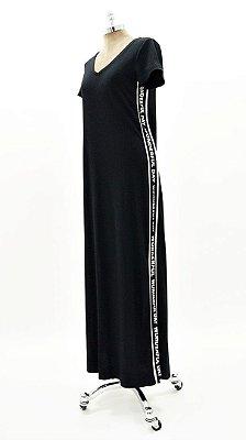Vestido Longo Canelado Faixa Silk Preto