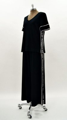 Conjunto Pantalona Canelado Faixa Silk Preta
