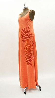 Vestido Longo Regata Flame Folhagem Tangerina