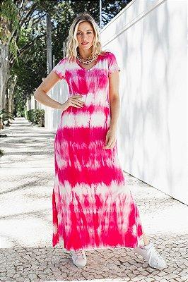 Vestido Longo Tie Dye Pink