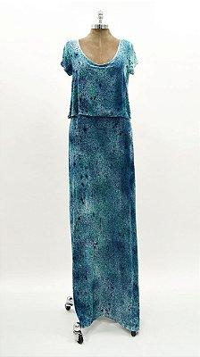 Vestido Longo Tie Dye Marinho e Verde Água
