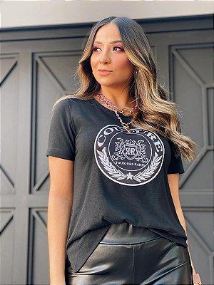 T-Shirt Patch Brasão Preta