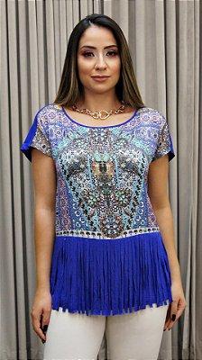 Blusa Franja Azul Roxo Pedras - Coleção Étnico Blue