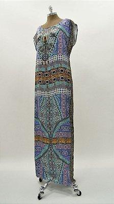 Vestido Longo Kaftan Roxo Azul Básico - Coleção Étnico Blue