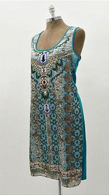 Vestido Curto Regata Turquesa Básico