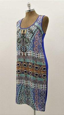 Vestido Curto Regata Azul Roxo Básico - Coleção Étnico Blue