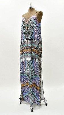 Vestido Longo Renda Roxo Azul - Coleção Étnico Blue