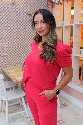 Conjunto de Calça Jogger Blusa Cropped Princesa Crepe de Malha Pink