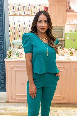 Conjunto de Calça Jogger Blusa Cropped Princesa Crepe de Malha Verde