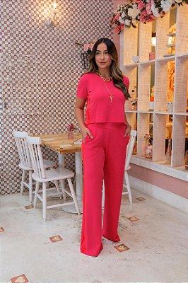 Conjunto Pantalona Crepe de Malha Faixa Lateral Pink