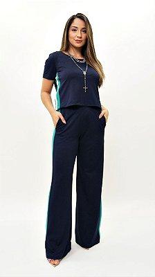 Conjunto Pantalona Crepe de Malha Faixa Lateral Marinho