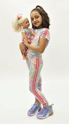 Conjunto Kids de Calça Jogger Tie Dye Candy Faixa Melância + Vestido Boneca