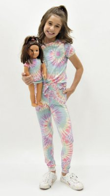 Conjunto Kids de Calça Jogger Tie Dye Candy Faixa Lavanda + Vestido Boneca