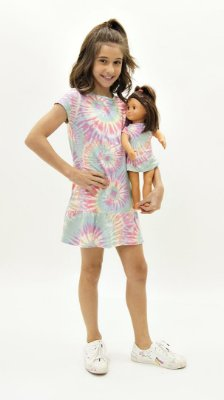 Vestido Kids Tie Dye Candy Lavanda + Vestido Boneca