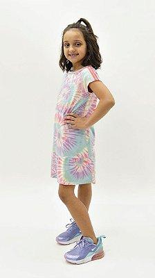 Vestido Kids Tie Dye Candy Melância + Vestido Boneca