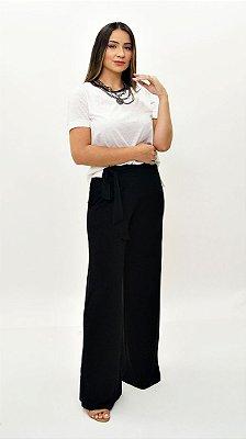 Calça Pantalona Básica com Cinto