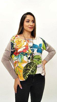 Blusa Ampla Avulsa Kaqui Floral Color