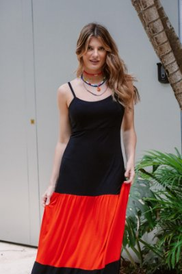 Vestido Longo Alça Tricolor Preto Coral