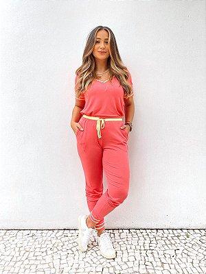 Conjunto Calça Jogger Detalhes Vivos Chiclete Lima