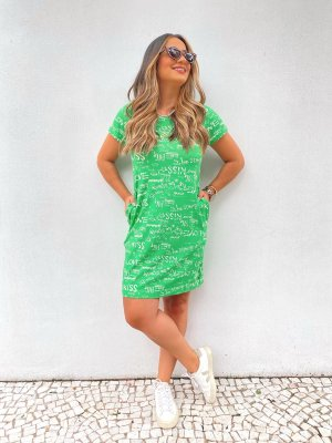 Vestido Camisetão Estampa Giz Verde