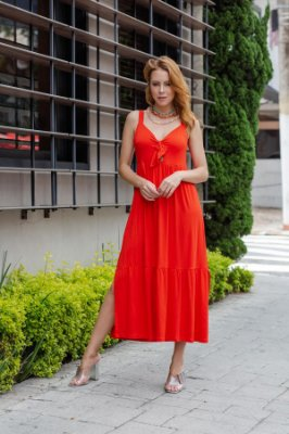 Vestido Coral Alça Nó Decote
