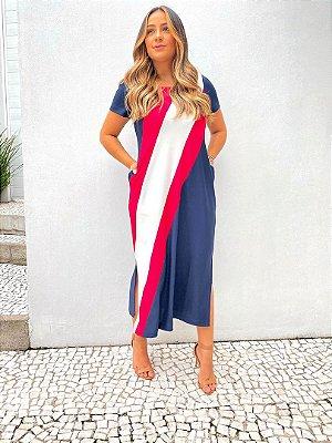 Vestido Midi Crepe Recorte Diagonal Marinho Pink