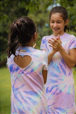 Vestido Moletinho Candy Colors Kids Detalhe de coração in love com Vestido Boneca Coração