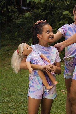 Conjunto de Bermuda Moletinho Candy Colors Kids Detalhe Coração In Love com Vestido Boneca