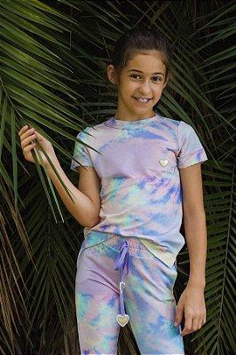 Conjunto de Calça Jogger Moletinho Candy Colors Kids com Detalhe Aplique Coração In Love e Vestido da Boneca