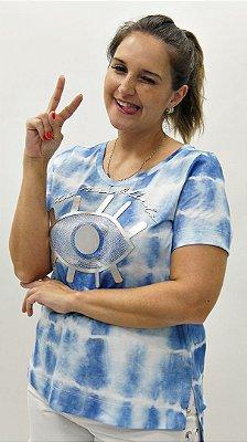 T-Shirt Meia Malha Azul Detalhe aplique Xô Mau Olhado Olho Grego Grande