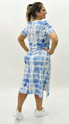 Vestido Moletinho Azul Detalhe Xô Mau Olhado