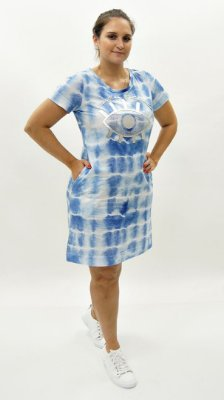 Vestido Camisetão Meia Malha Azul Detalhe Aplique Xô Mau Olhado