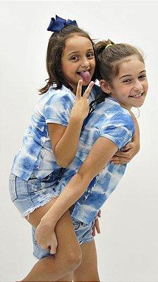 T-Shirt Meia Malha Azul Kids Detalhe aplique Xô Mau Olhado