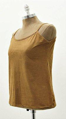 Regata Básica Suede Combinação Camisa Tela Camel