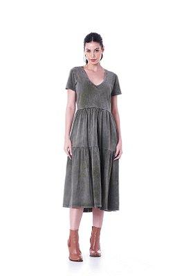 Vestido Meia Malha Lavada Basic Preto