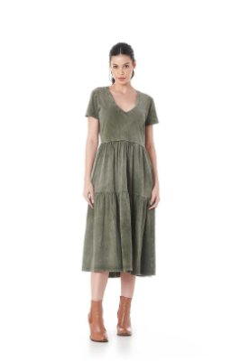 Vestido Meia Malha Lavada Basic Verde