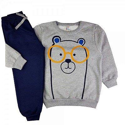 Conjunto Infantil Moletom Peluciado Urso Mescla - Tamanho 2