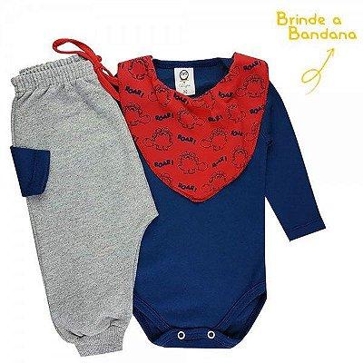 CONJUNTO BODY INFANTIL SUEDINE/MOLETOM ROAR MARINHO - M