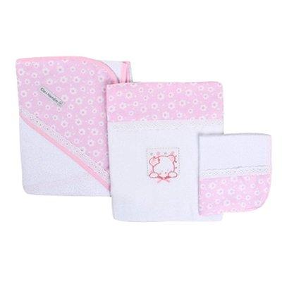 Kit Banho Minasrey Cia Do Bebê 3 Peças Estampa Urso Rosa/Branco