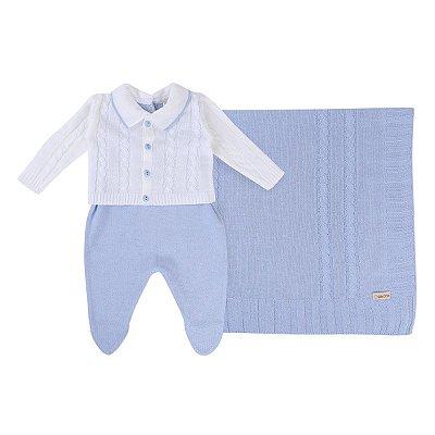 Saída Maternidade Din Don Em Tricô Trançado 03 Peças Menino Off White/Azul Bebê