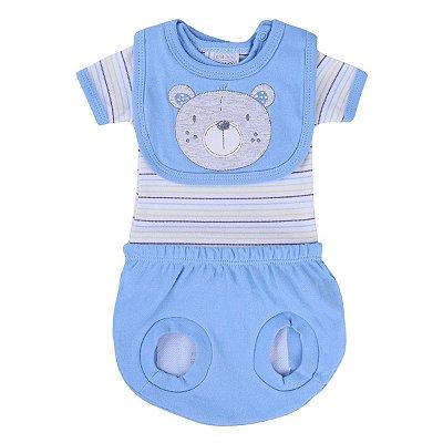 Kit Presente Baby Gijo Body Curto Babador Tapa Fralda Urso Listrado Azul