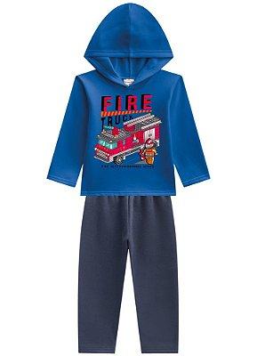 Conjunto Blusão E Calça Moletom Brandili Fire Truck Azul e Vermelho